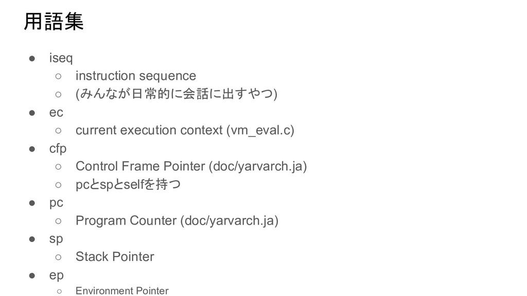 用語集 ● iseq ○ instruction sequence ○ (みんなが日常的に会話...
