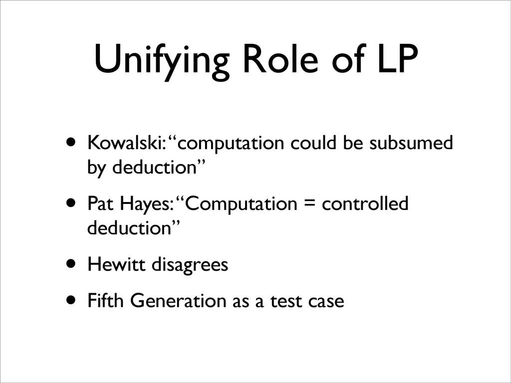 "Unifying Role of LP • Kowalski: ""computation co..."