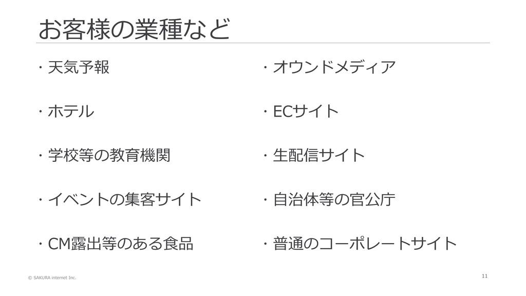 © SAKURA internet Inc. 11 お客様の業種など  天気予報  ホテル...
