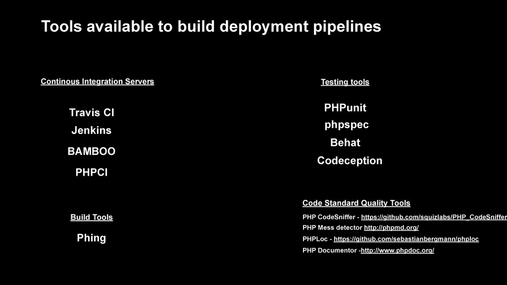 Tools available to build deployment pipelines T...