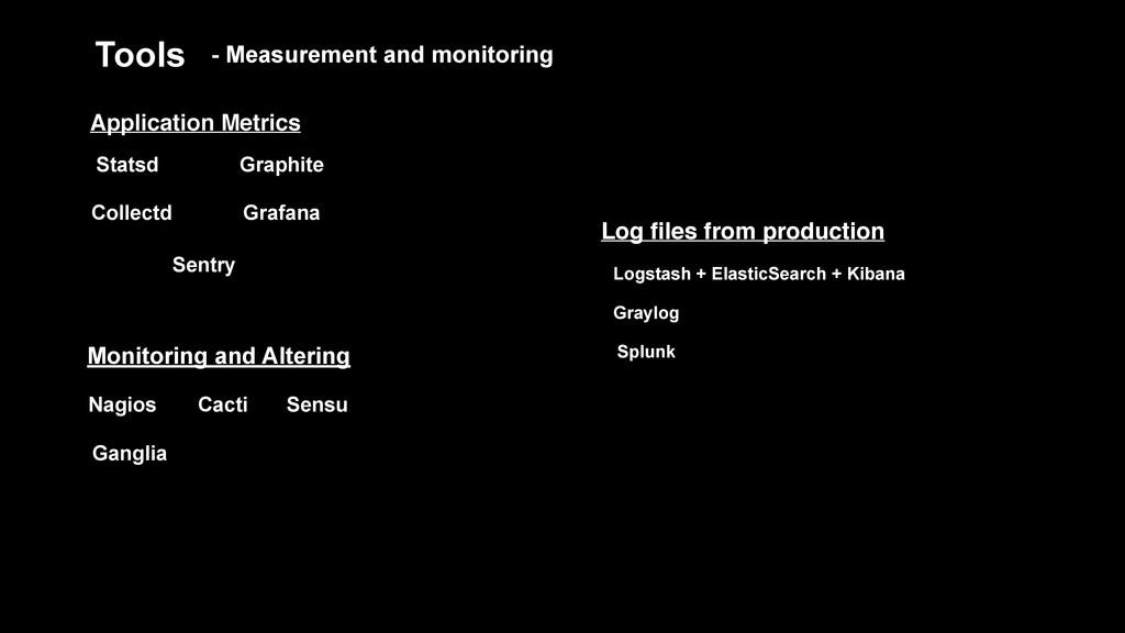 Tools Statsd Logstash + ElasticSearch + Kibana ...
