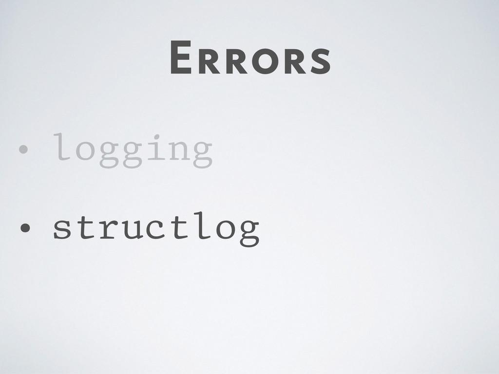 Errors • logging • structlog