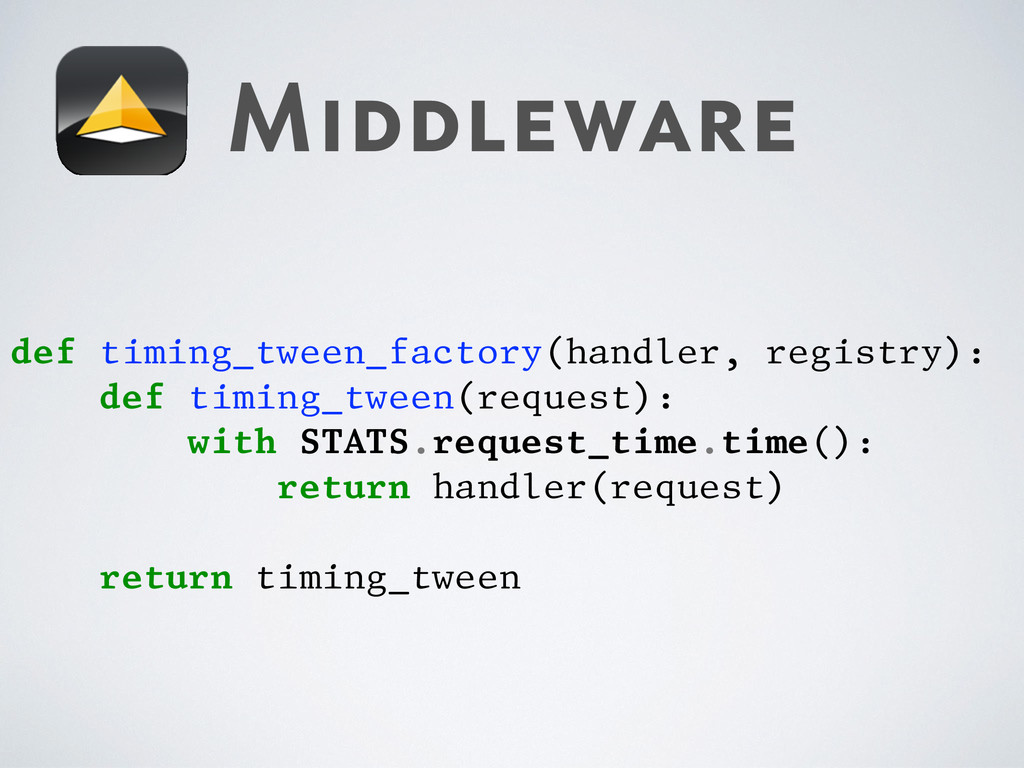 Middleware def timing_tween_factory(handler, re...