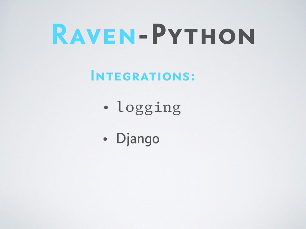 Raven-Python Integrations: • logging • Django