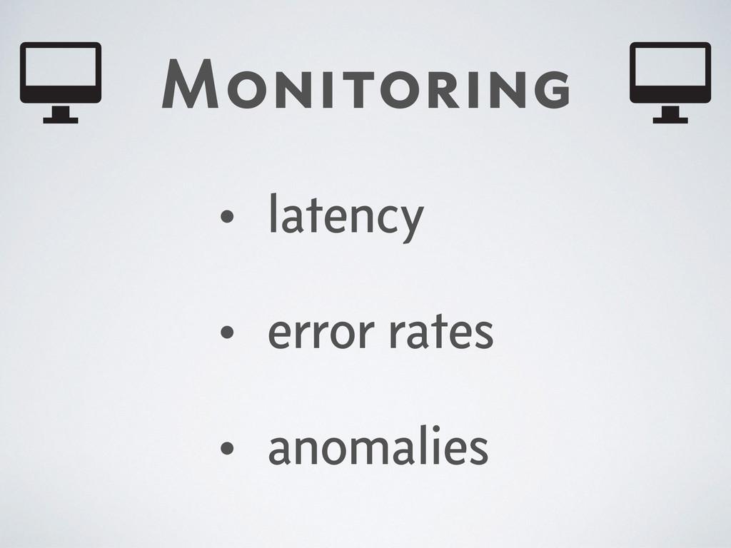 Monitoring • latency • error rates • anomalies