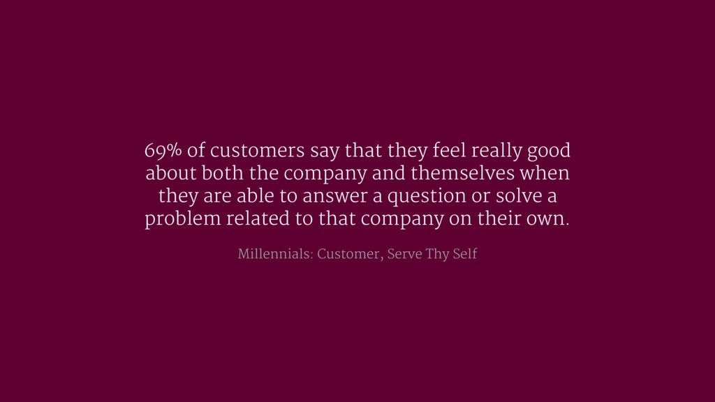 69% of customers say that they feel really good...