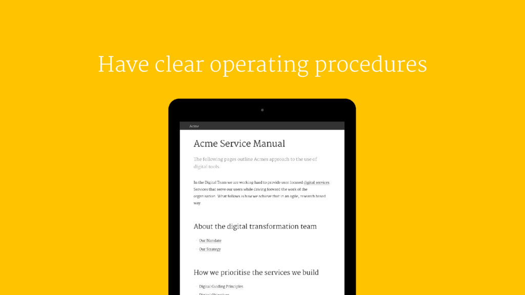 Have clear operating procedures