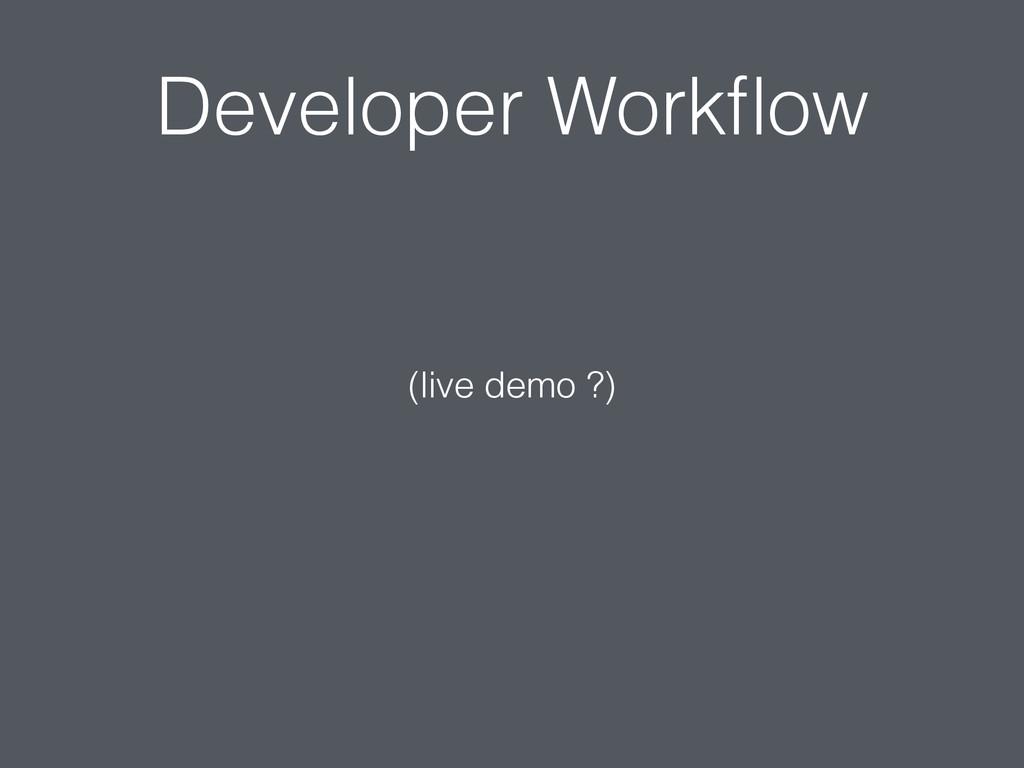 Developer Workflow (live demo ?)
