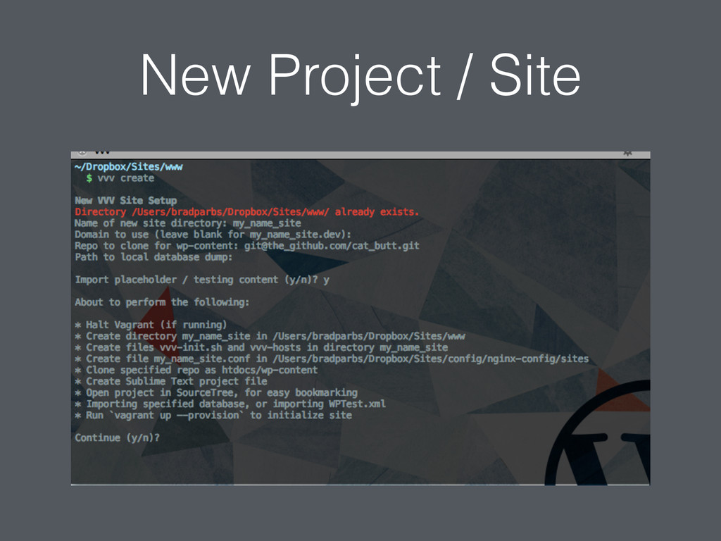 New Project / Site