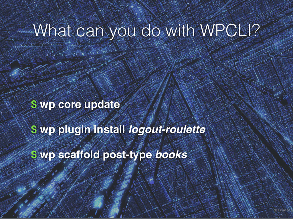 What can you do with WPCLI? $ wp core update ! ...