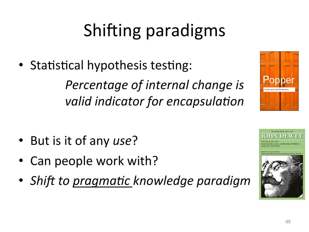 Shi7ing paradigms  • StaUsUcal hypoth...