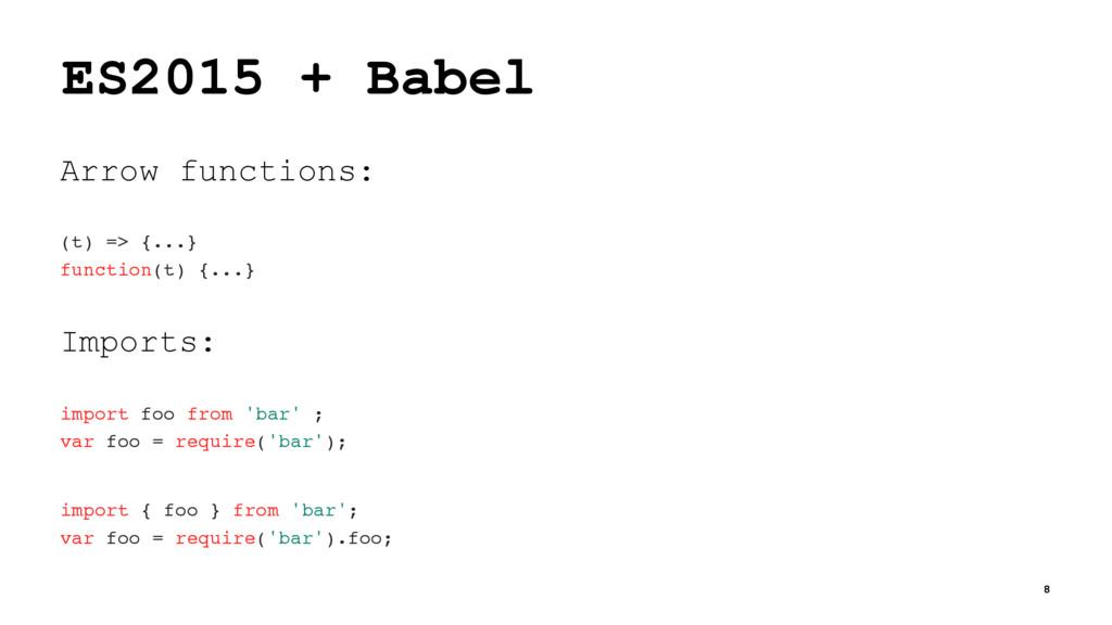 ES2015 + Babel Arrow functions: (t) => {...} fu...