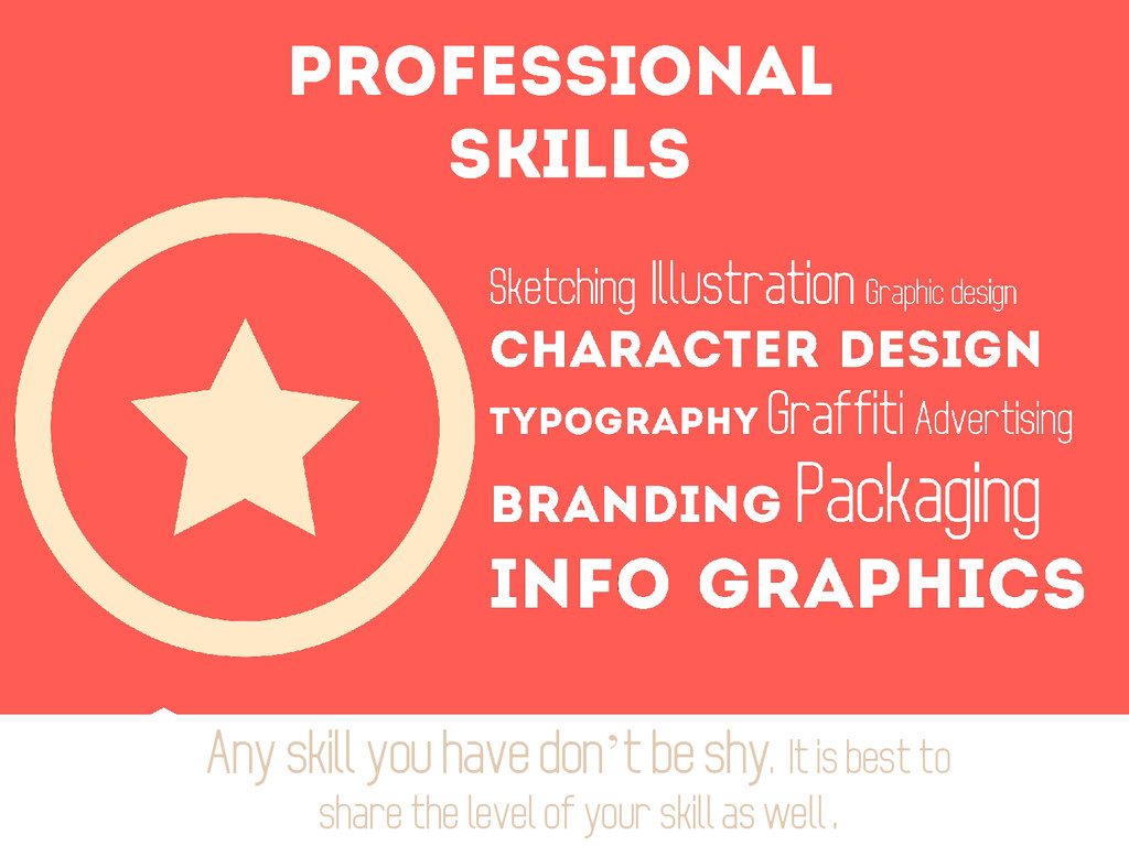 Any skill you have don't be shy. It is best to ...