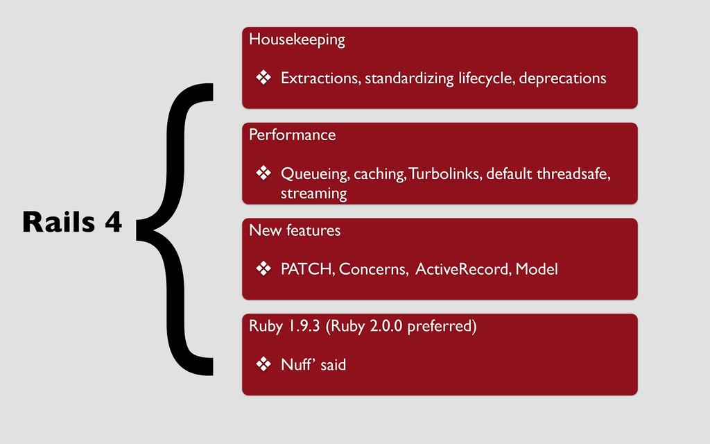Rails 4 Housekeeping ❖ Extractions, standardizi...
