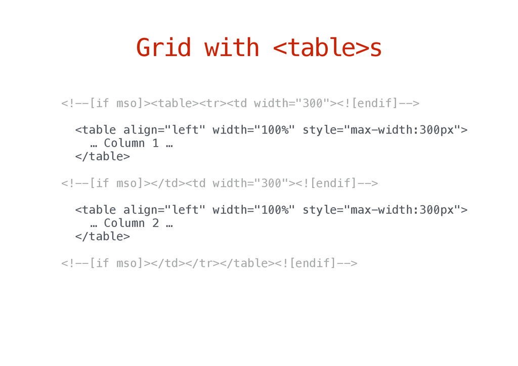 Grid with <table>s <!--[if mso]><table><tr><td ...