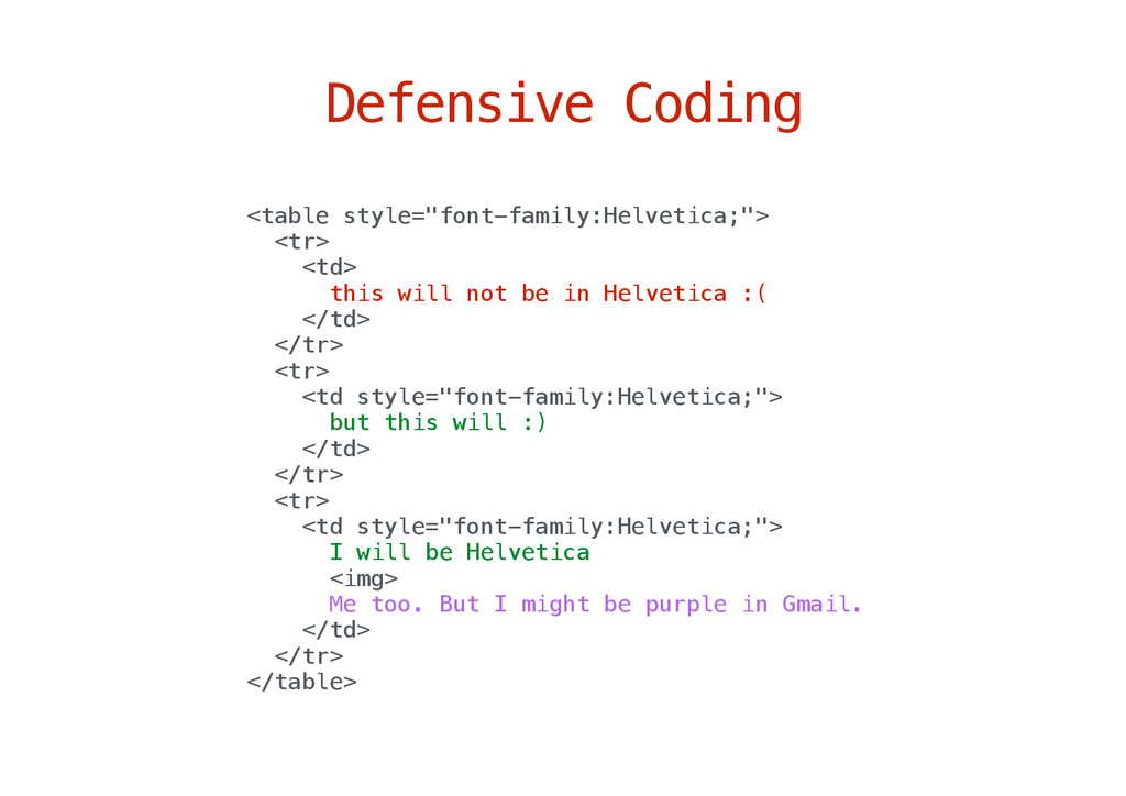 "Defensive Coding <table style=""font-family:Helv..."