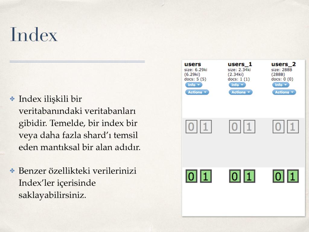 Index ✤ Index ilişkili bir veritabanındaki veri...