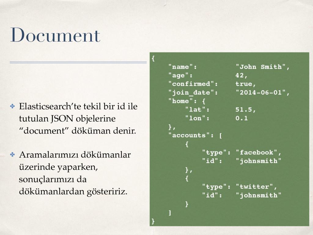 Document ✤ Elasticsearch'te tekil bir id ile tu...