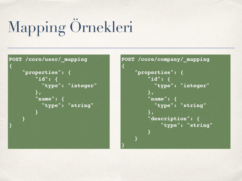 """Mapping Örnekleri POST /core/user/_mapping { """"p..."""