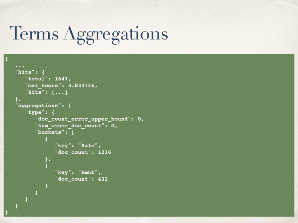 """Terms Aggregations { ... """"hits"""": { """"total"""": 164..."""