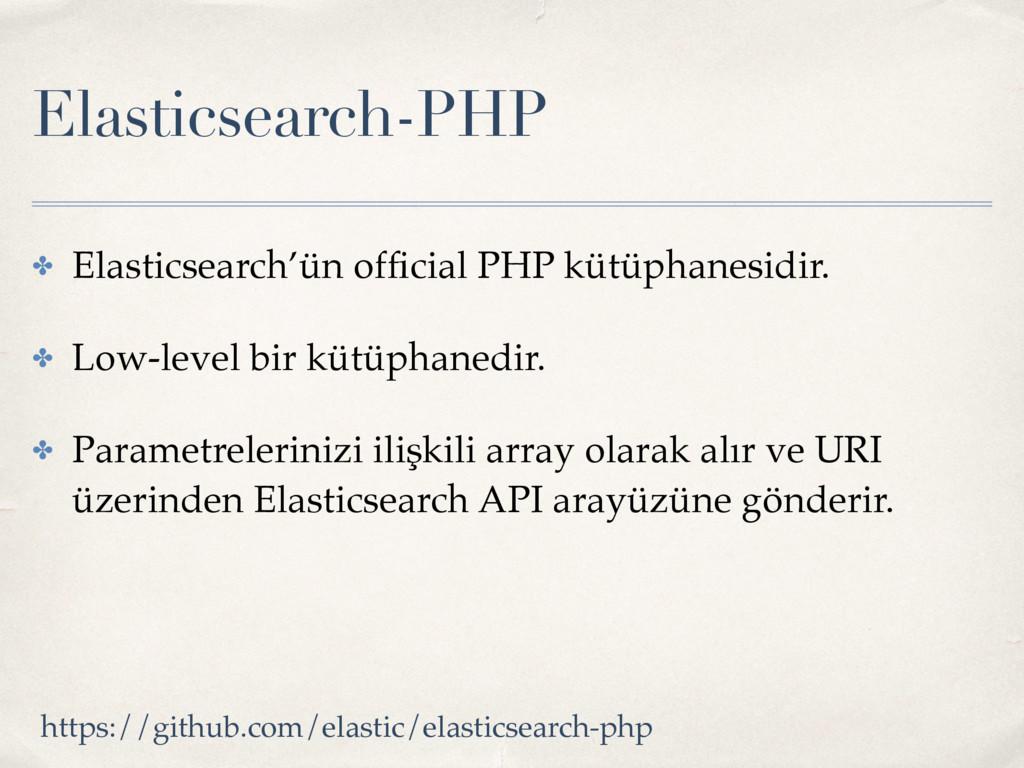 Elasticsearch-PHP ✤ Elasticsearch'ün official PH...