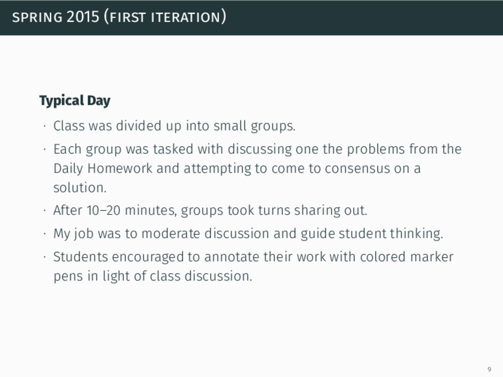 spring 2015 (first iteration) Typical Day ∙ Cla...