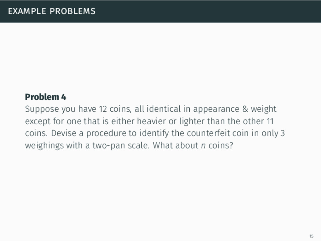 example problems Problem 4 Suppose you have 12 ...
