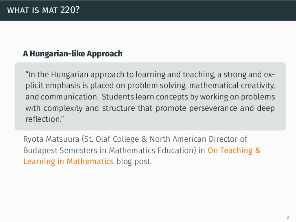 """what is mat 220? A Hungarian-like Approach """"In ..."""