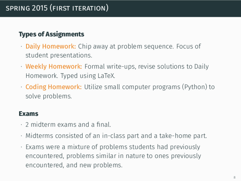 spring 2015 (first iteration) Types of Assignme...