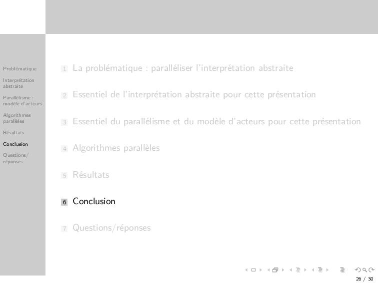 Probl´ ematique Interpr´ etation abstraite Para...