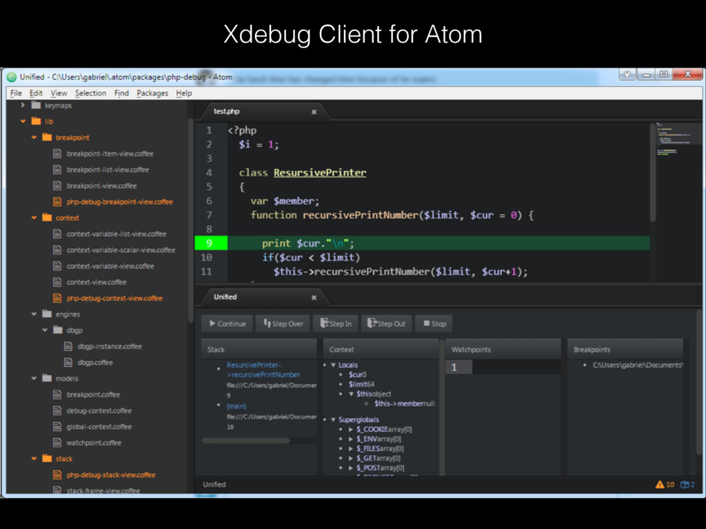 Xdebug Client for Atom