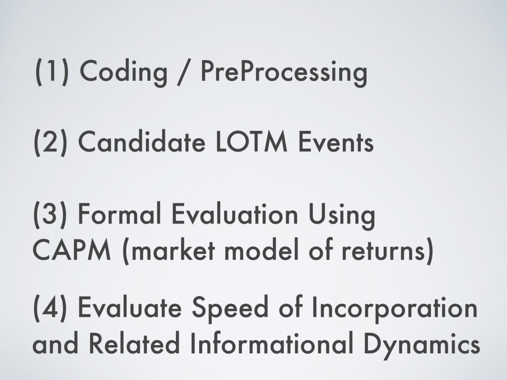 (1) Coding / PreProcessing (2) Candidate LOTM E...