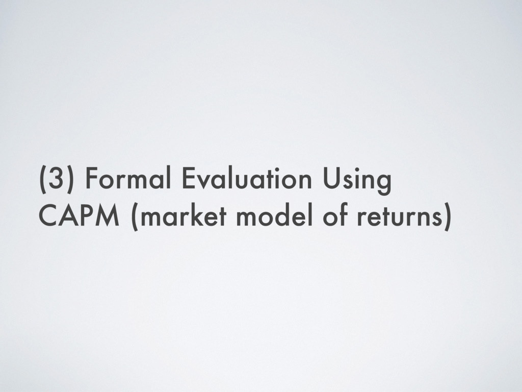 (3) Formal Evaluation Using CAPM (market model ...