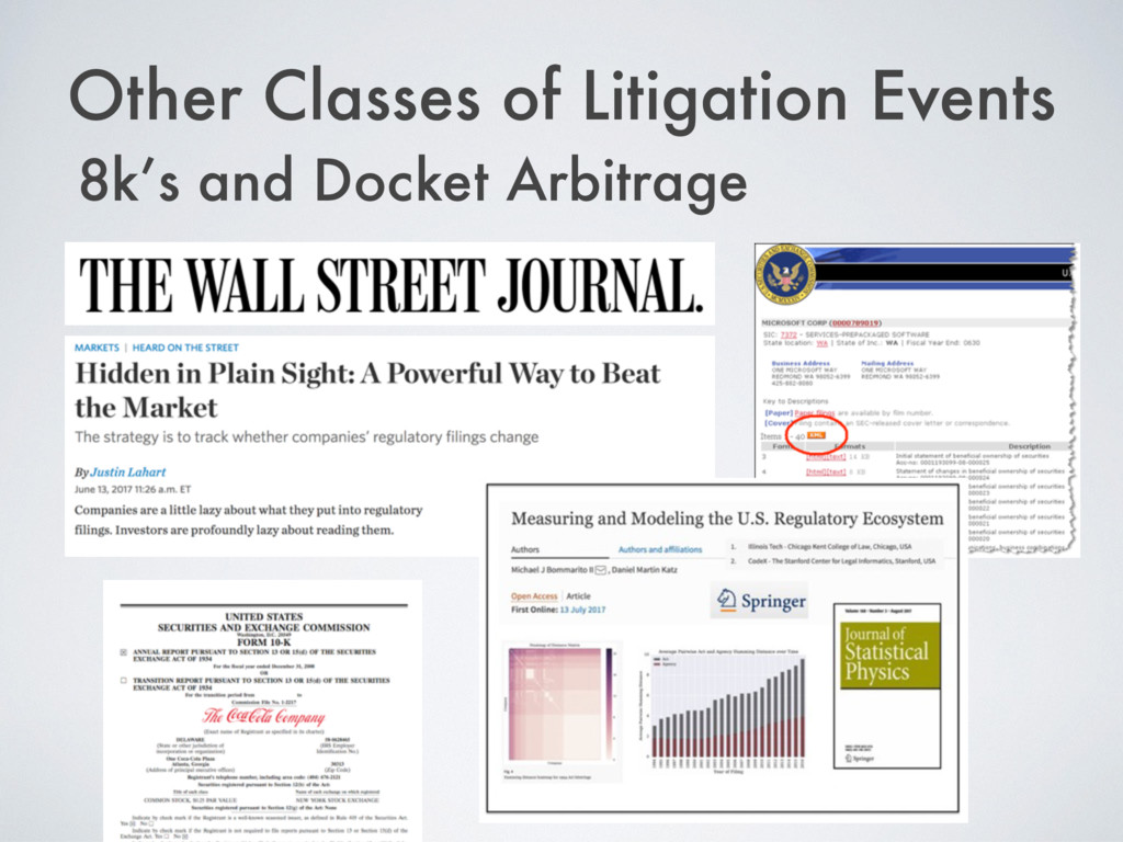 Other Classes of Litigation Events 8k's and Doc...