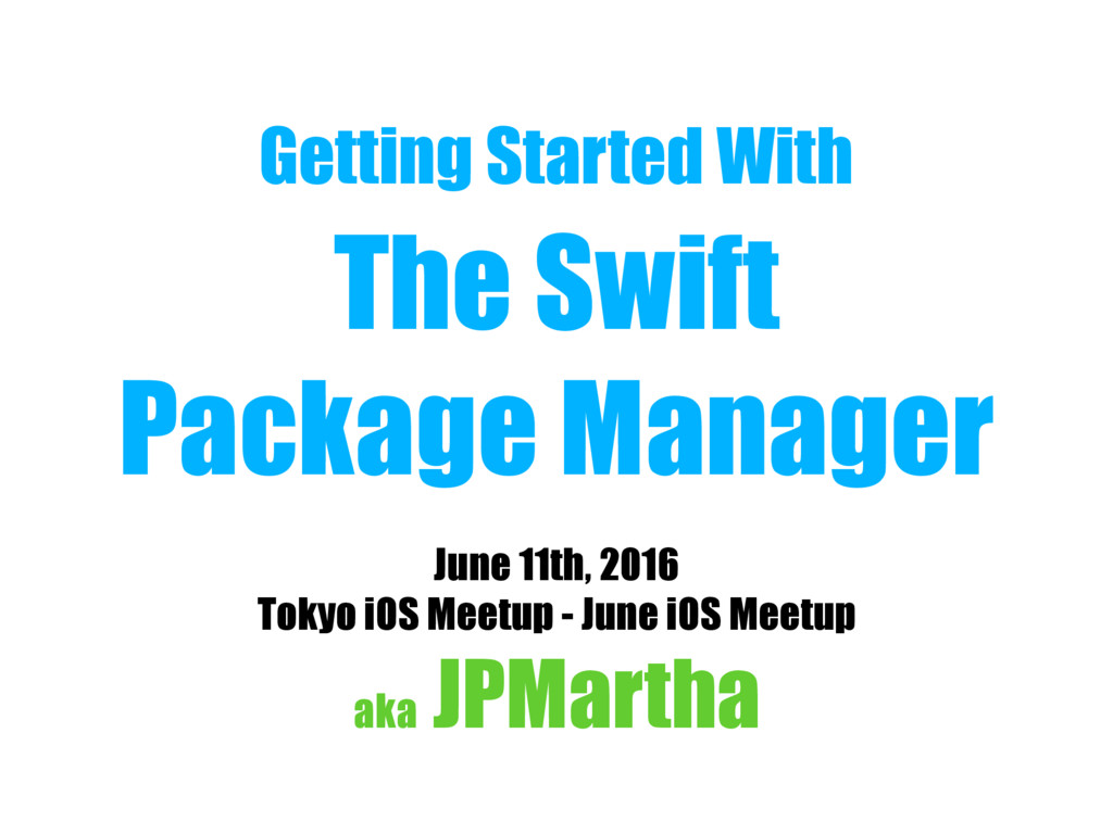 Getting Started With The Swift Package Manager...