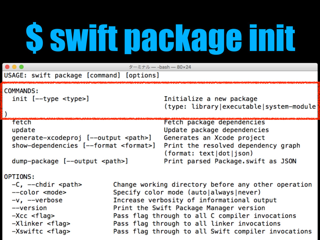 $ swift package init