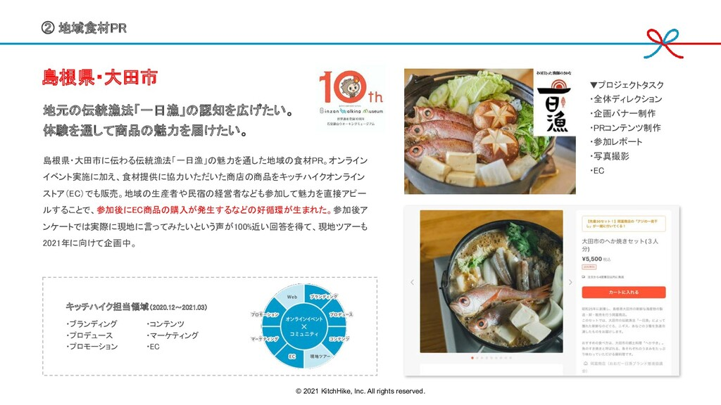 ② 地域食材PR  島根県・大田市   地元の伝統漁法「一日漁」の認知を広げたい。 ...