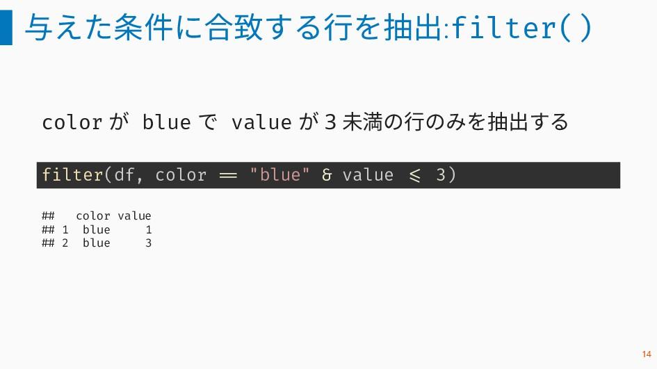 与えた条件に合致する行を抽出:filter() color が blue で value が ...