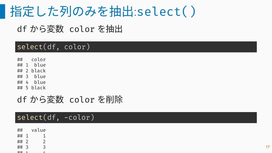 指定した列のみを抽出:select() df から変数 color を抽出 select(df...
