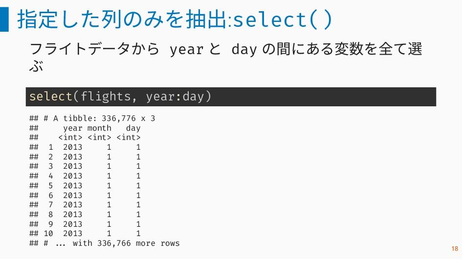指定した列のみを抽出:select() フライトデータから year と day の間にある変...