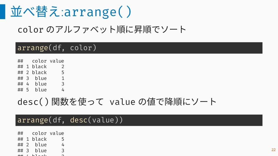 並べ替え:arrange() color のアルファベット順に昇順でソート arrange(d...