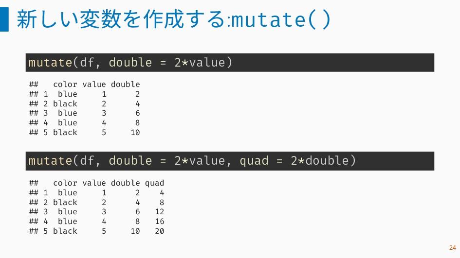 新しい変数を作成する:mutate() mutate(df, double = 2*value...
