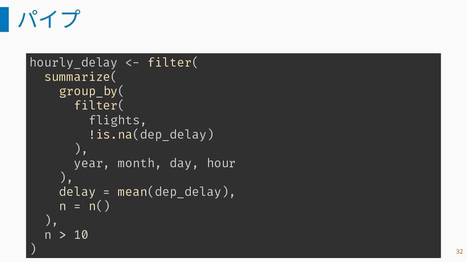 パイプ hourly_delay <- filter( summarize( group_by...