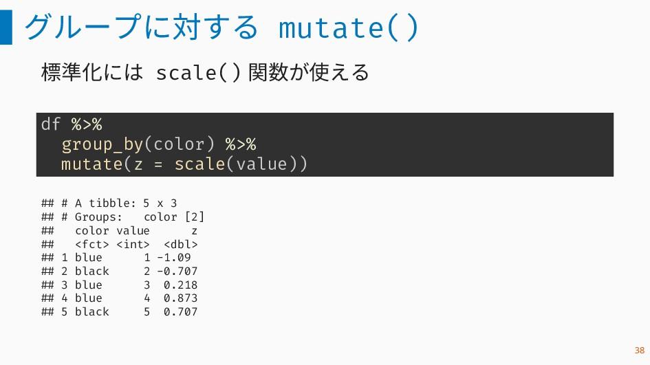 グループに対する mutate() 標準化には scale() 関数が使える df %>% g...