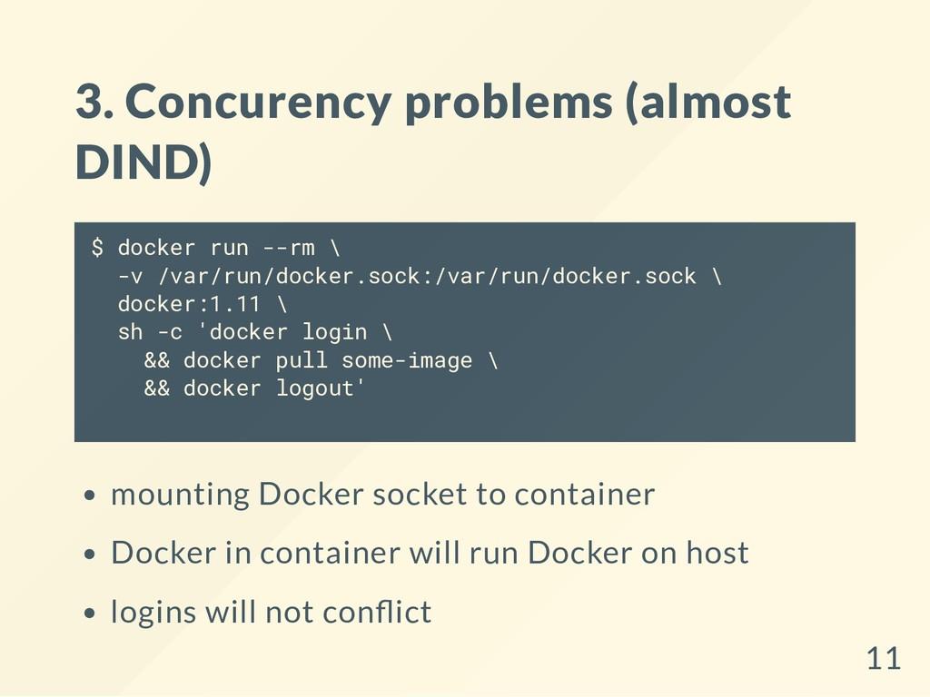 3. Concurency problems (almost DIND) $ docker r...