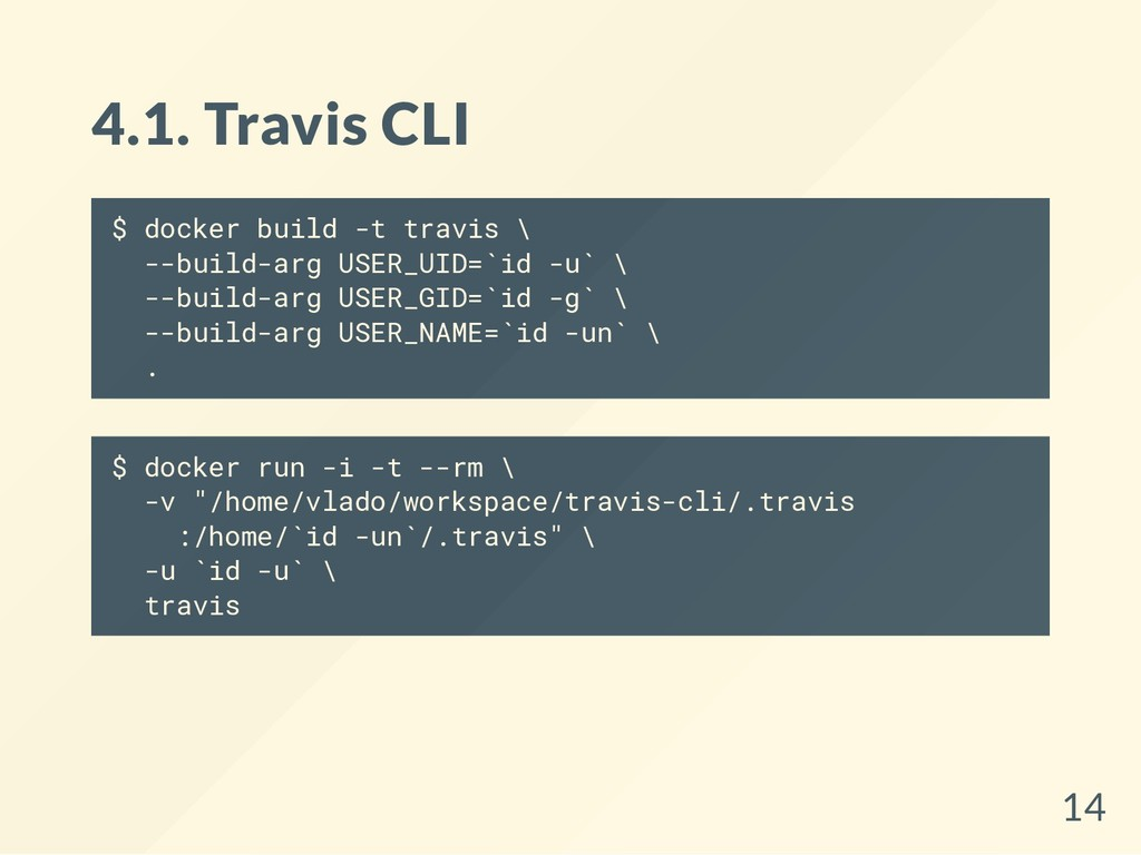 4.1. Travis CLI $ docker build -t travis \ --bu...