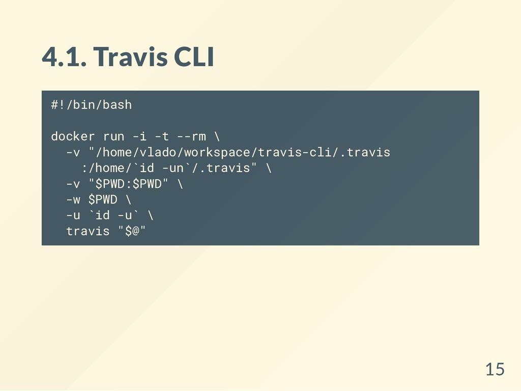 4.1. Travis CLI #!/bin/bash docker run -i -t --...