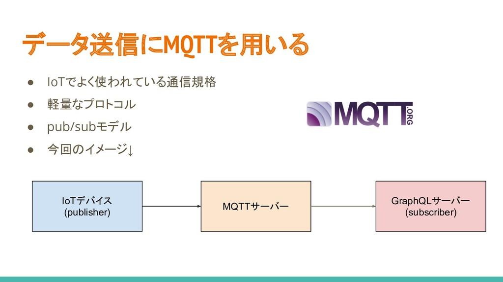 データ送信にMQTTを用いる ● IoTでよく使われている通信規格 ● 軽量なプロトコル ● ...