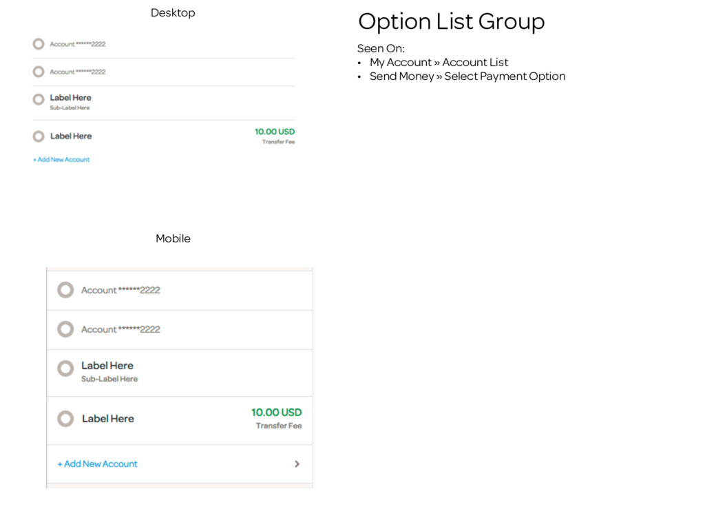 Option List Group Seen On: • My Account » Accou...