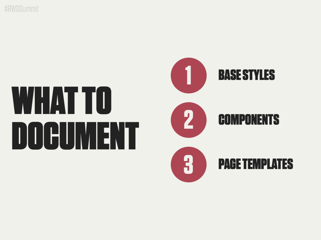 #RWDSummit BASE STYLES 1 2 COMPONENTS 3 PAGE TE...
